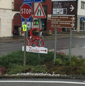 This says it all: follow the luminous yellow sign to the Zoncolan. Or better still just STOP!