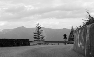 A brief bit of respite, towards the top of the Zoncolan, Stage Four. Only another 165km and 5,000m to go that day!